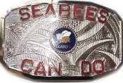 Silver Seabees Belt Buckle